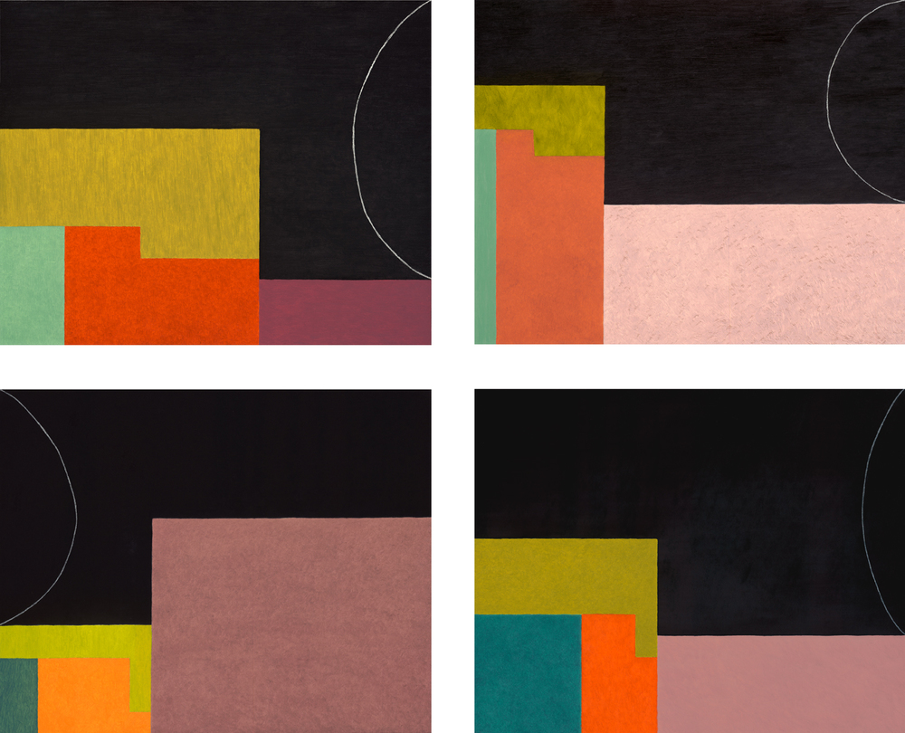 Black Chord series, 7 panels total (2010), oil on board, each panel: 16 x 20 in.