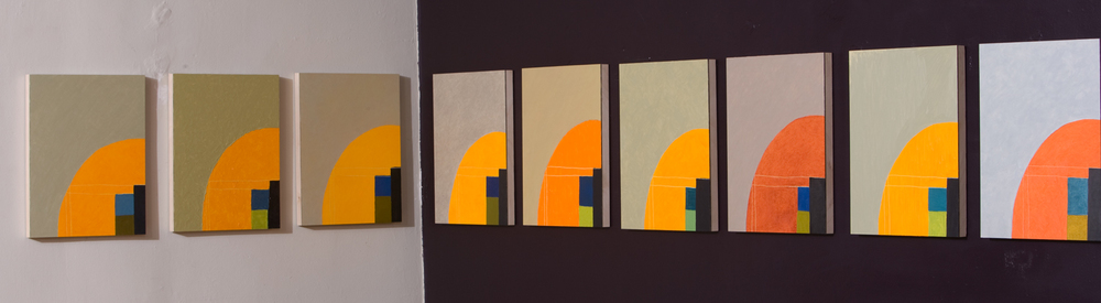 Orange Arc series, 25 panels total, oil on board (2008), each panel: 14 x 11 in.
