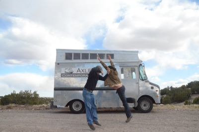 The Axle mobile art gallery and its founders, artists Matthew Chase-Daniel and Jerry Wellman.