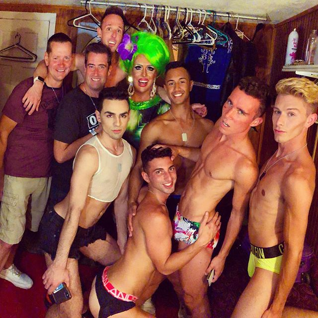 Backstage antics with some admirers. Imported queens from #fireislandpines Which one do you want? See me live Sunday the 9th and Tuesday the 11th at 9:30pm. . . . #heddalettuce #cherrygrove #cherrygrovefireisland #heddalettucenyc #hedda #twinks #gaytwink #instagay #jockstrap #gayandproud
