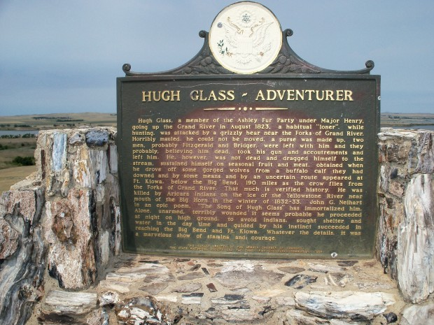 Hugh Glass historical marker overlooking ShadeHill Reservoir.