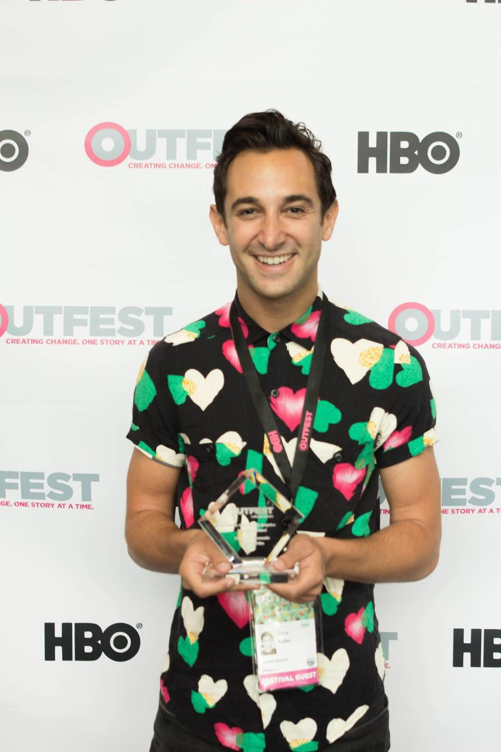 Writer/Director  JOEY KUHN  with the Outfest Audience Award for Best U.S. First Feature