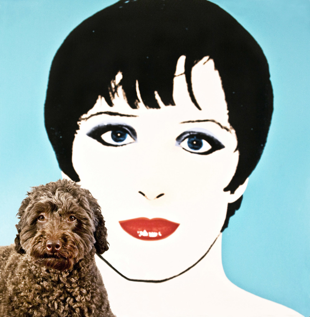 Josephine & painting by Deborah Kass (Collectors Shelly & Vincent Fremont)