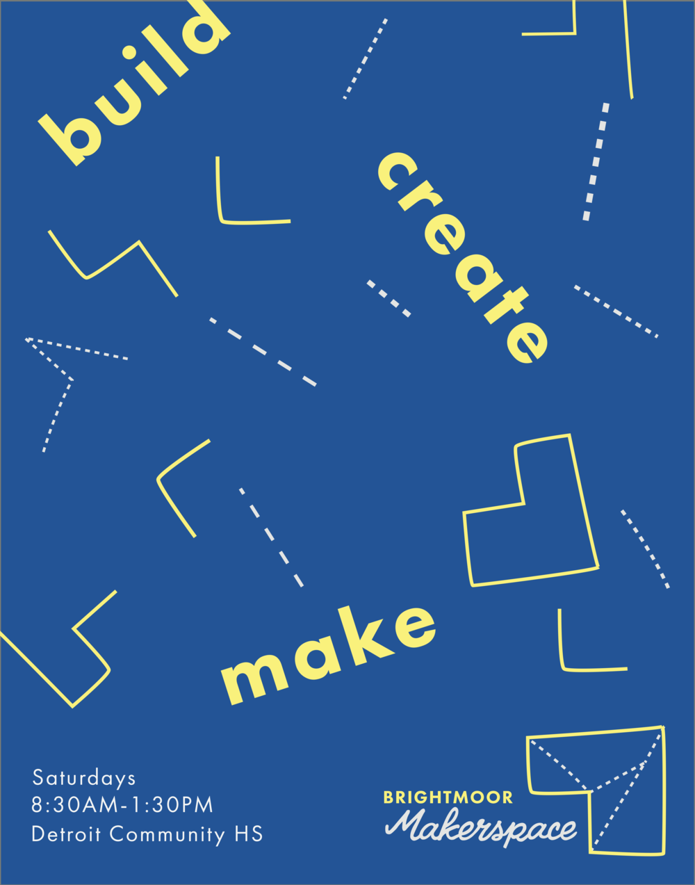 """""""build  create  make""""    The disjointed lines/sections of the logo symbol suggest construction but also endless possibilities. Here you have these seemingly disparate parts. What can YOU build/create/make out of these lines and shapes?"""