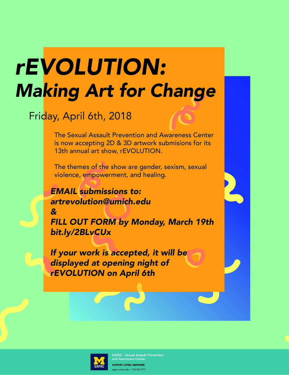 Poster for the annual art show, rEVOLUTION