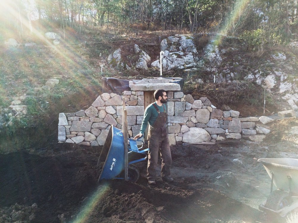 November 2017  A man building his root cellar dreams…always experimenting on our property.