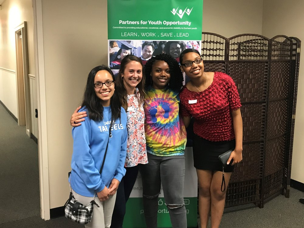Lizzie and PYO Interns Giselle, AuDasia, and Nandi.