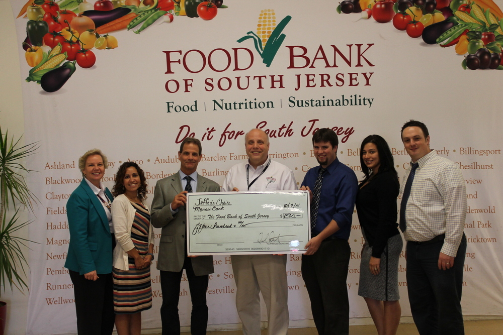 From left to right: Sabine Mehnert, Senior Manager of Corporate Relations, Marian Gravely, Branch Manager of the Turnersville branch, Don Terry, AVP of the New Jersey South region, Tom Sims, Chief Development Officer , Daniel Dochterman, AVP of the New Jersey North region, Ivelisse Morales, Branch Manager of the Marlton branch, and Adam Zaccaria, Branch Manager of the Oaklyn branch.