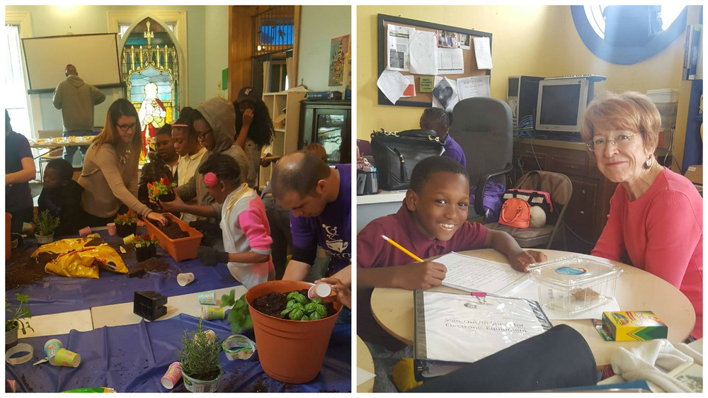 Mariner Finance employees Brooke Smith, HR Generalist, and Justin Kellam, VP of Central Credit, showed children the importance of eating healthy by planting herbs and plants. Mariner Finance employee Celie Neville, Reverse Mortgage Consultant, is helping a student with his homework.