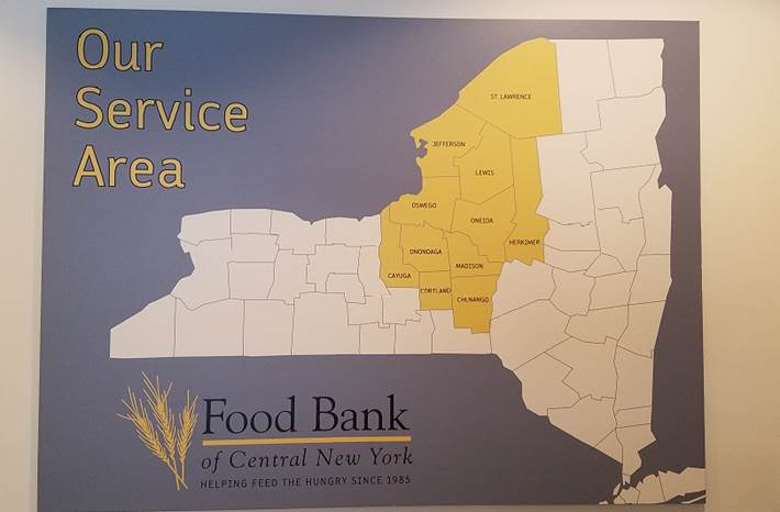 The extraordinary service area of the Food Bank of Central New York is featured above.  Think about how much food is needed DAILY to feed an area that size!!