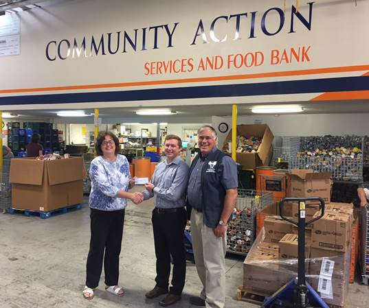 Pictured left to right: Karen, Community Action Services and Food Bank; David Hartshorn, Mariner Finance Branch Manager in Orem, UT; Dave, Community Action Services and Food Bank