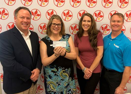 Pictured left to right: Josh Johnson – President & CEO (Founding Member of Jeffie's Choice); Amy Chase – Maryland Food Bank; Elizabeth Rhome – AVP Audit (Founding Member of Jeffie's Choice); Bill Bartholomay – 2018 Jeffie's Choice Executive Sponsor