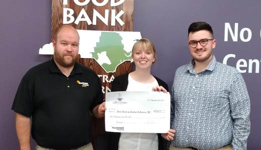 Pictured left to right. Jeff Zuch, Raleigh, NC Branch Manager, Jenna Temple, Manager of Corporate Partnerships for the Food Bank, Mason Egan, Raleigh, NC Branch Manager Trainee
