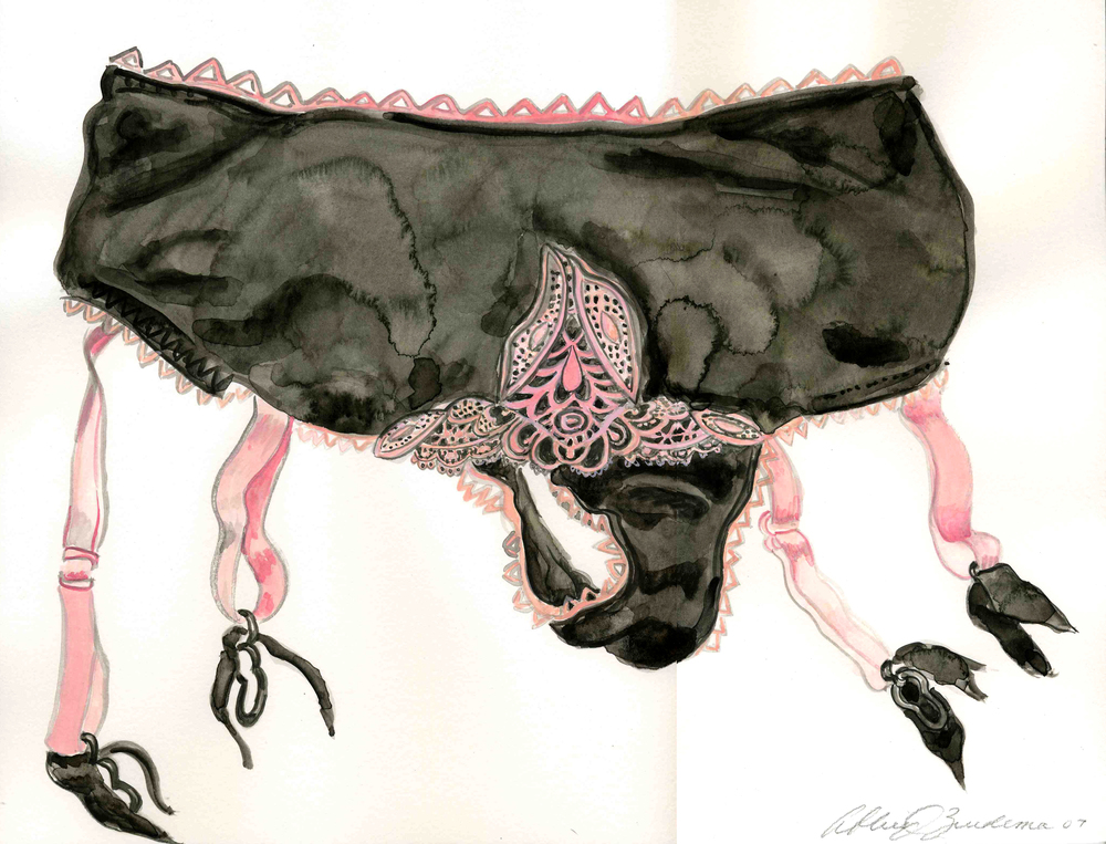 pink and black knickers & garters, 2007, watercolor on paper,14x18, $365..jpg