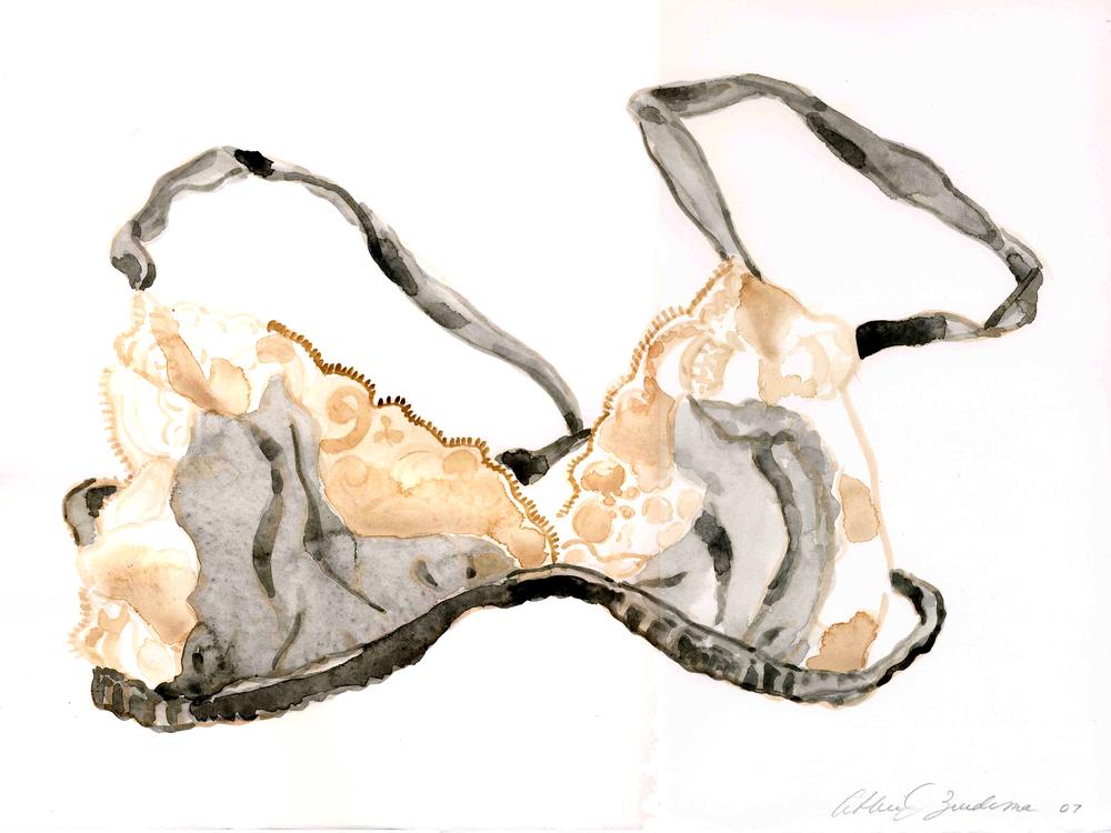 lace & black brasiere, 2007, watercolor on paper,14x11, $350.jpg