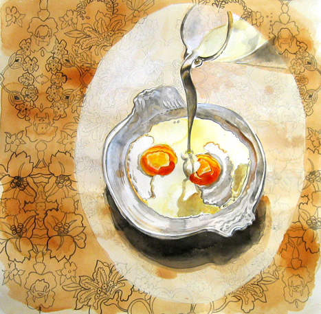baked eggs, 12x12, watercolor, gouache & india ink on paper2005.jpg