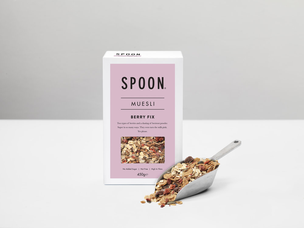 MUESLI: BERRY FIX - Jumbo Oats (52%), Malted Barley Flakes, Roasted Buckwheat (gluten Free, organic), Chopped Dates, Pumpkin Seeds (organic), Raspberry Crumble (1%) (freeze dried), Strawberries (0.6%) (freeze dried), Beetroot Powder (0.6%)(organic), Blueberries (0.6%) (freeze dried, organic).ALLERGEN ADVICE: for allergens, including cereals containing gluten, see ingredients in bold. Packed in a factory that handles peanuts, nuts, milk, soya and sesame seeds.Nutrition / 50g serving:Energy 795KJ / 189KCAL, Fat 2.3g, of which saturates 0.6g, Carbohydrate 31.8g, of which sugars 3.0g, Fibre 4.9g, Protein 5.6g, Salt 0.24g