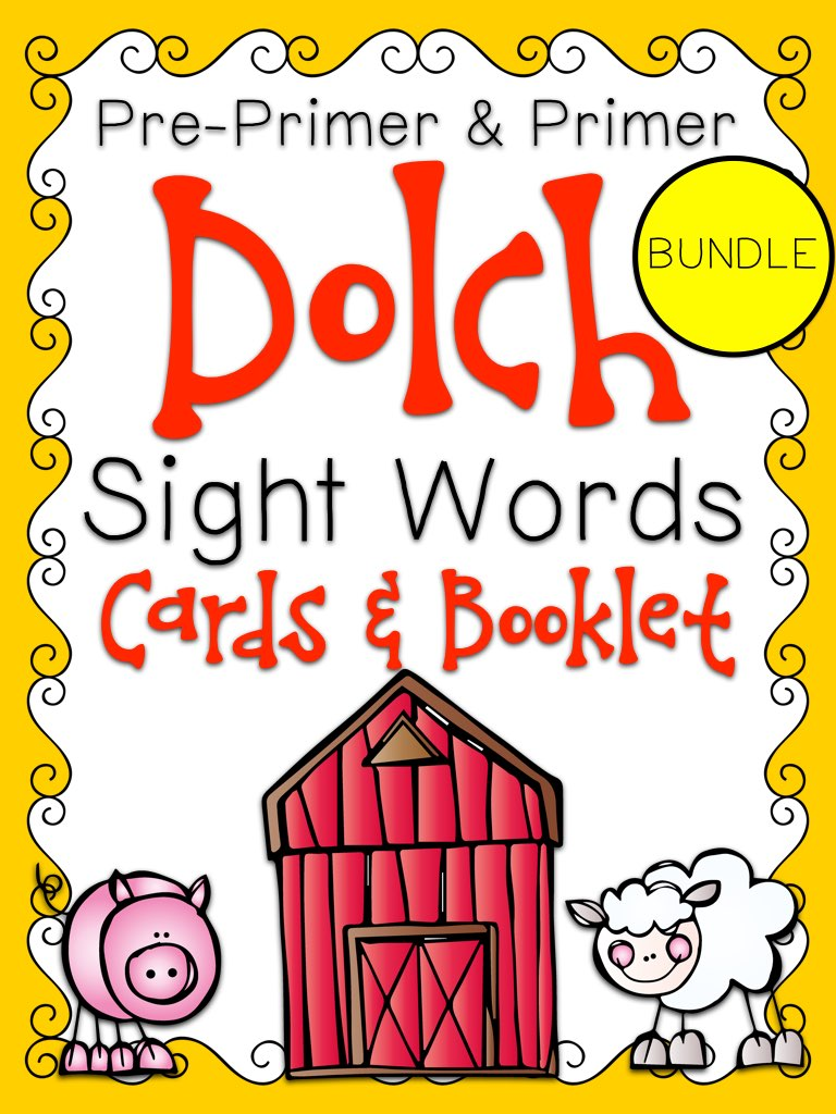 Primer Dolch Sight Word Cards and Booklet - Farm Theme PIC.001.jpg