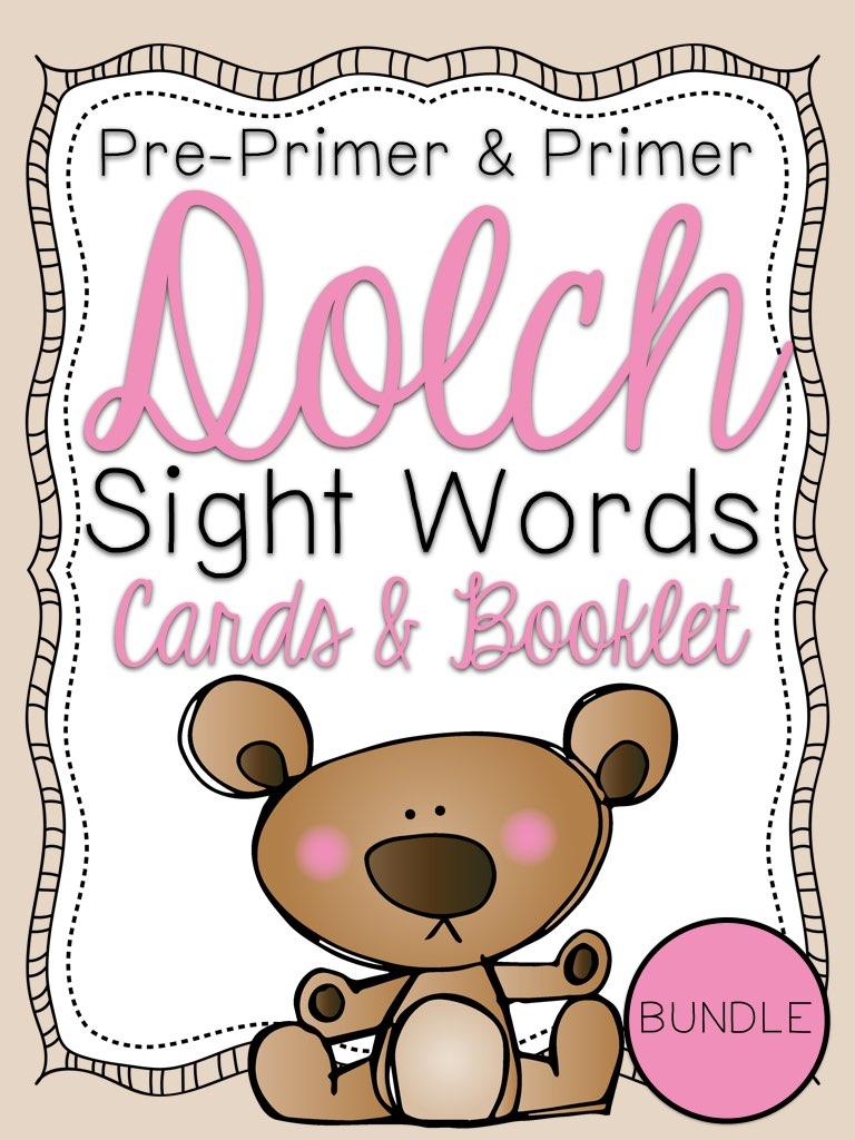 Pre-Primer & Primer Dolch Sight Word Cards & Booklet