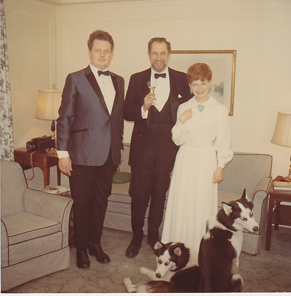 My dad with my godparents, Martha and Cleveland Amory, and their beloved Siberian Huskies, Ivan and Peter.
