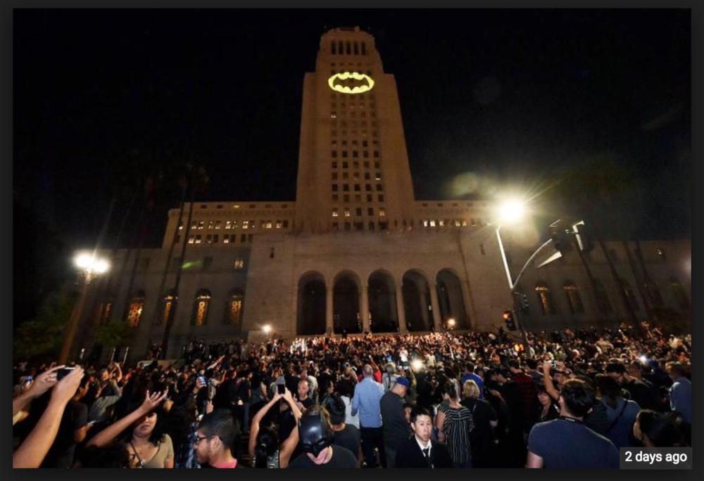 Honoring the loss of Moya's stepdad Adam West at Los Angeles City Hall.