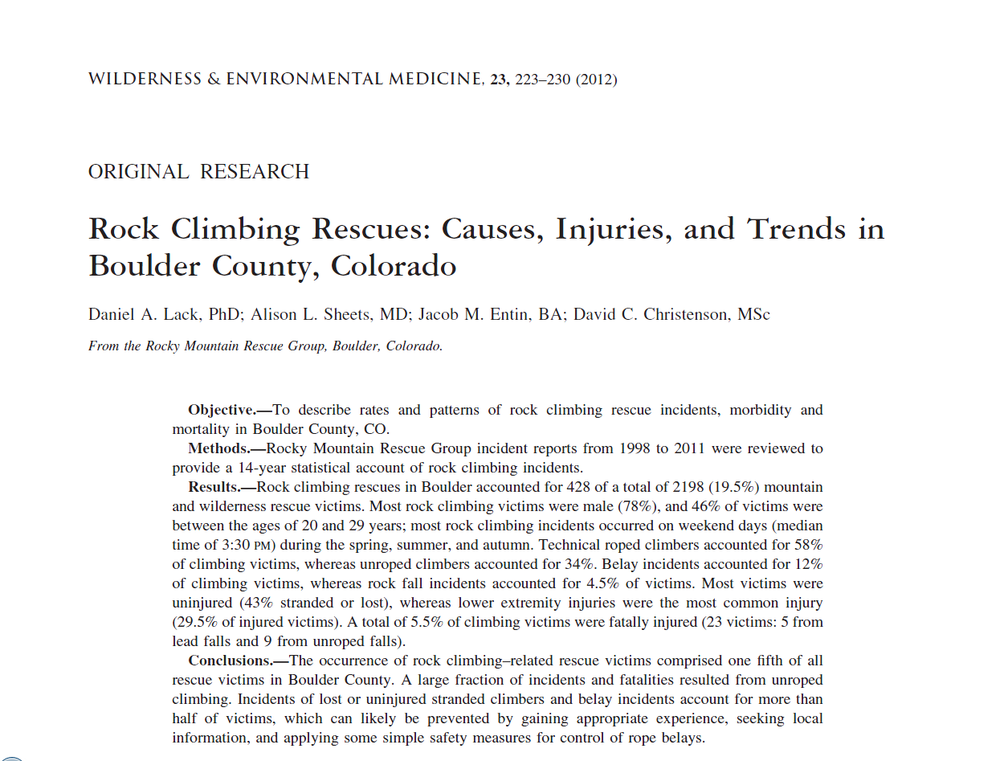 Wilderness & Environmental Medicine (2012):  Rock Climbing Rescues: Causes, Injuries, and Trends in Boulder County, Colorado
