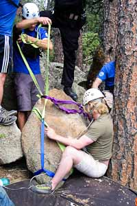 Rigging to free climber pinned by fallen boulder. May 2012