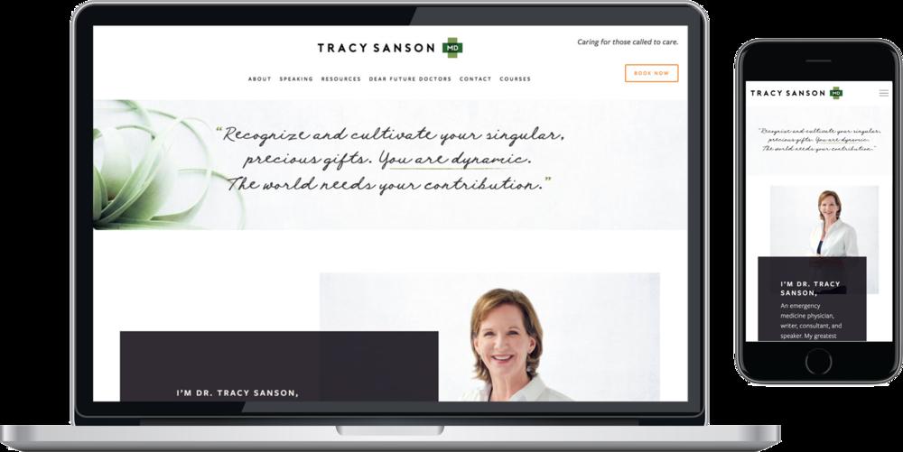 TracySansonMD - responsive squarespace website homepage