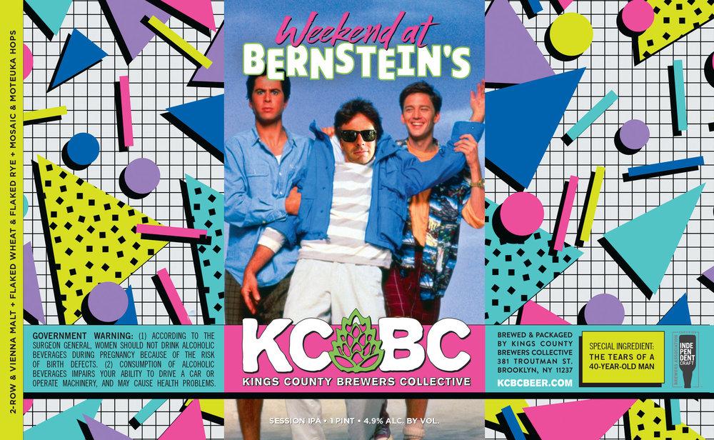 Weekend at Bernstein's custom beer label design - full label
