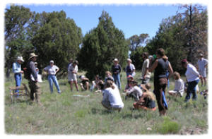 Dr. Loeser discusses his research on alternative grazing regimes to a land tour group in July 2005 (Diablo Trust archives)