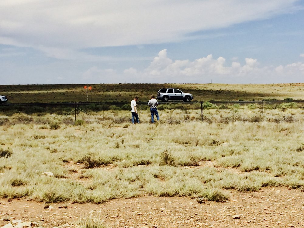 Zach and Joe at an exclosure on the Bar T Bar Ranch by Interstate 40 in August 2016.