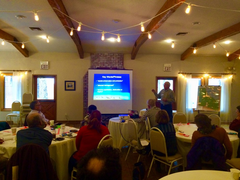 Tom Mackin, Diablo Trust Wildlife Committee Chair, presenting on the basics of conservation.