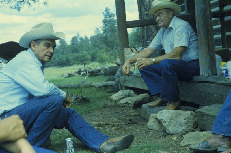 Herb Metzger (L) of the Flying M Ranch and Ernest Chilson (R) of the Bar T Bar Ranch, at the Moqui cabin on Bar T Bar.