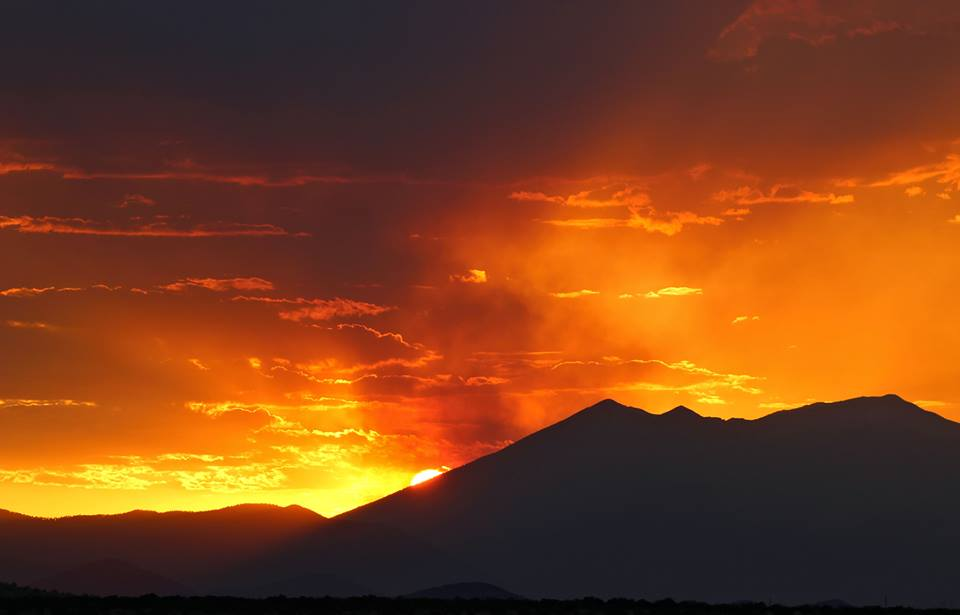 Humphreys Peak, north of Flagstaff, at sunset, June 2017. Photo by Sheila Carlson