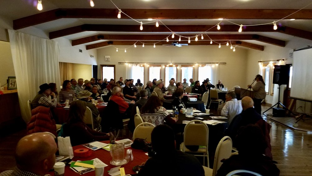 Kit Metzger (Flying M Ranch) presenting to a full house!