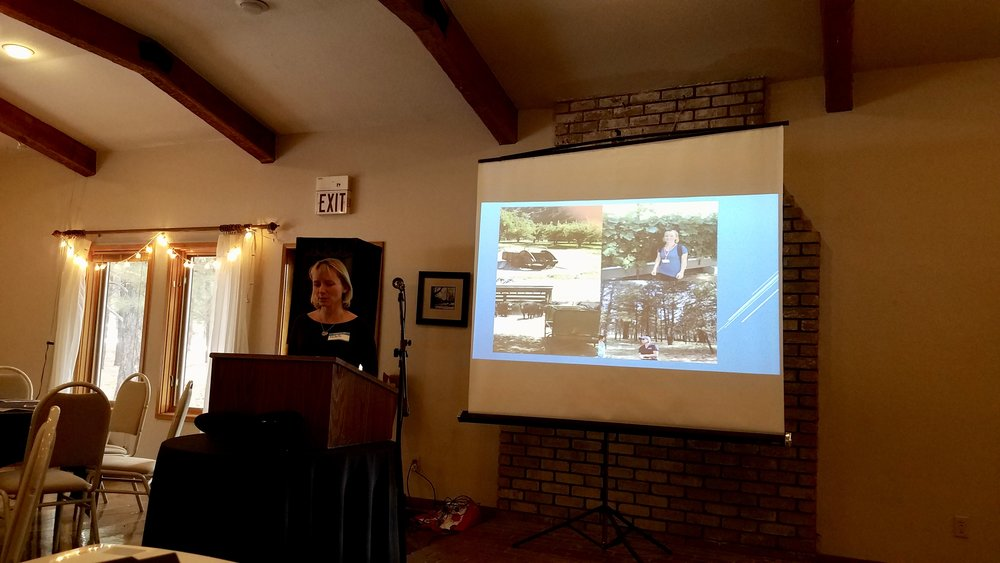 Local teacher Michelle Weidinger giving a short presentation on her experience with the Summer Agricultural Institute.