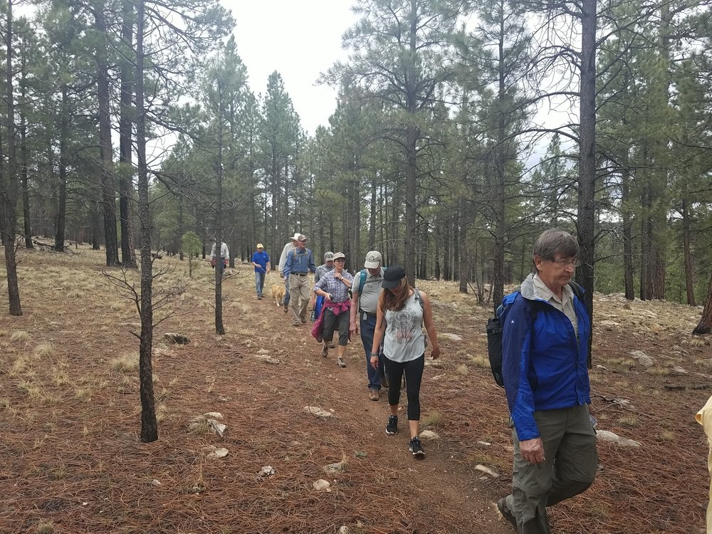 Most of the attendees taking a short hike on the AZ Trail