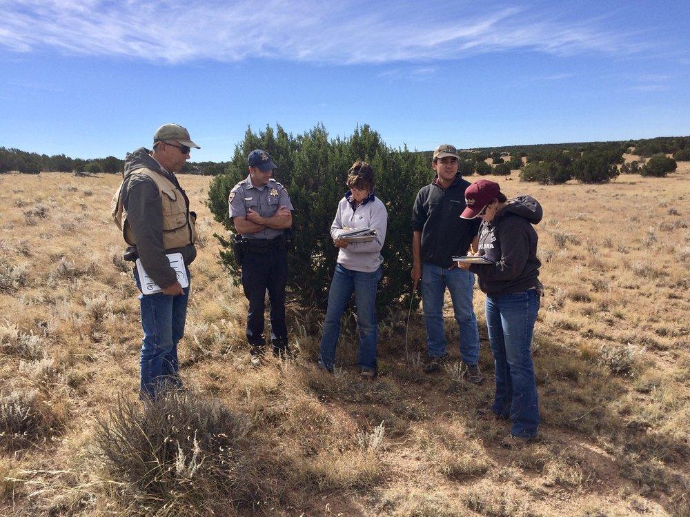 FRSG monitoring session in October 2016: (L-R) Steve Cassady (AGFD), Garrett Fabian (AGFD), Jackie Thomas (ASLD), Joey Dahms (NRCS), and Judy Prosser (Bar T Bar Ranch)