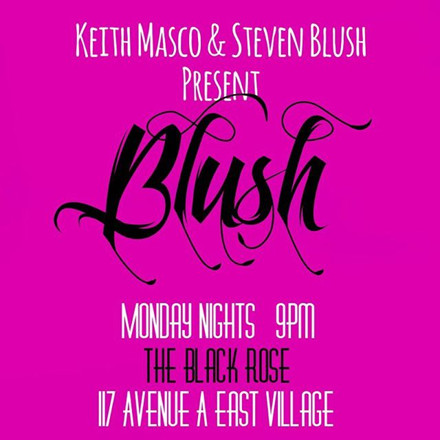"Join us tonight @9pm @blackroseny 117 Avenue A (bet St Marks and E.7th), for ""Blush Mondays,"" presented by Radical Records' Keith Masco and Steven Blush. DJ @thestevenblush spins old school hits until 2am ... Door by #frankwood.. NO COVER.. Drink specials all night! #eastvillagenyc #les #blackrosebarnyc #theblackroseny #rockandroll #backyard #latehappyhour #stevenblushauthor #newyorkrockbook #radicalrecords #djculture"