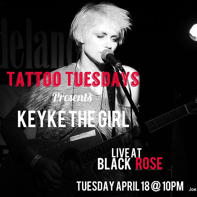 "Join us tomorrow night @blackroseny 117 Avenue A (bet St Marks and E.7th) for ""Tattoo Tuesdays,"" a singer-songwriter showcase presented by @qaspresents. Sign ups @8pm; showcase begins @9pm with a lineup continuing into the night. This weeks featured artist is @keykemusic. Hosted by comedian @apgarrison; door by #frankwood. Late night DJ set by @twiggvonwunderkind.  NO COVER.. Drink specials all night long. Get a free shot when you show your ink and buy a drink... #eastvillagenyc #blackrosebarnyc #theblackroseny #livemusic #les #blackrosetattootuesday #openmic #singersongwriter #backyard"
