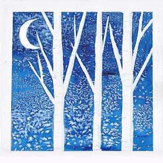 Birch Trees in Winter - salt & watercolors