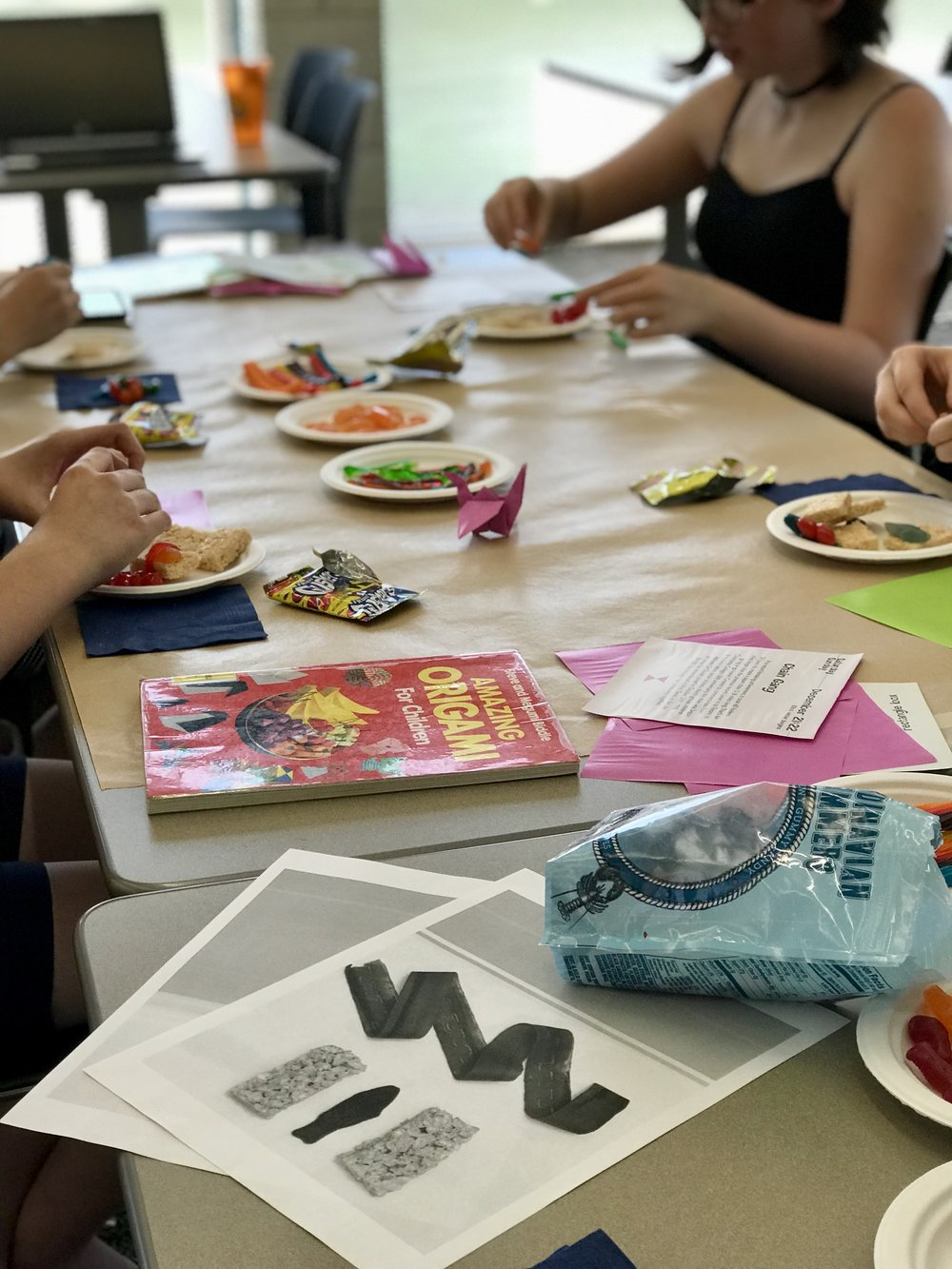 MANGA BOOK CLUB - Our first Manga Book Club was filled with book discussion, Shibori Tie Dye, sushi candy and origami. Our book selection was Anonymous Noise by Ryoko Fukuyama