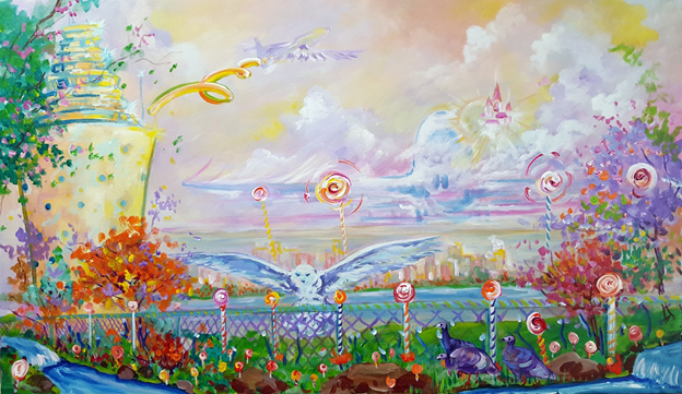Lollypop Landing.. Acrylic  on canvas.  21x36  inches.