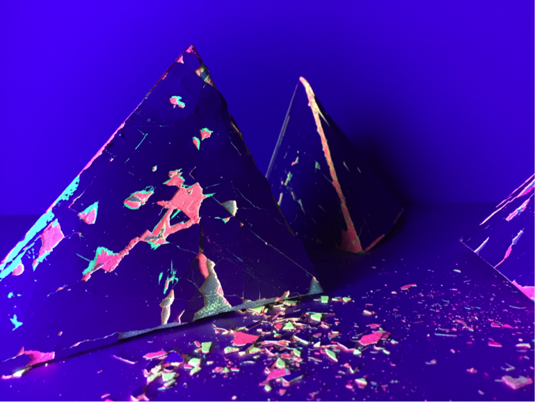 SHED sculpture Tetrahedrons under UV light