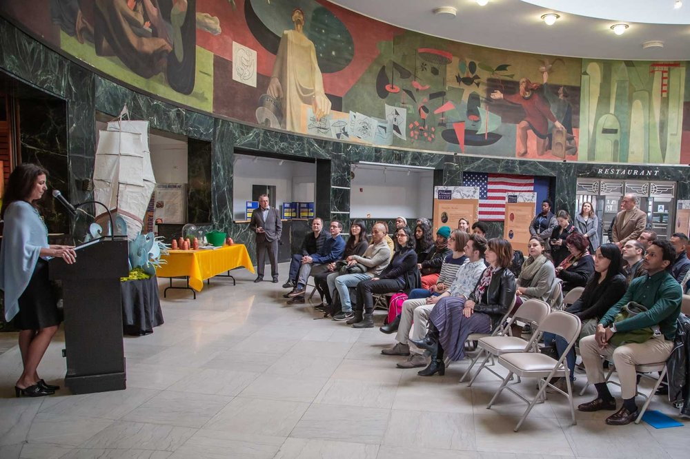 LaGuardia General Manager Lysa Scully making remarks during the 2019 ArtPort Launch Event. Photo: Conrad Barclay. Courtesy PANYNJ