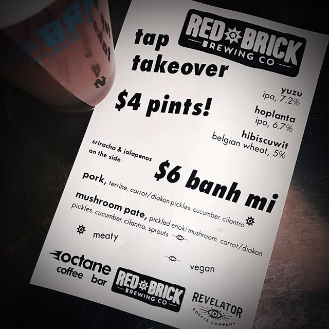 Sunday Night Tap Takeover at our Grant Park spot with local @RedBrickBrewing   plus some housemade Bahn Mi sammies    come hang with us tonight!