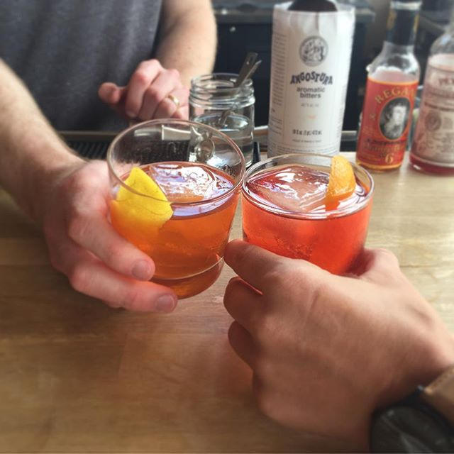 here's to friday! classic cocktails and summer weather...this is the beginning of a beautiful friendship. . . . #octanecoffee #cocktailsatl #octanewestside #octanegrantpark #cocktails