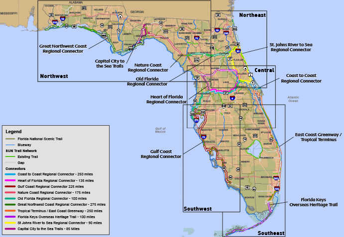 Maps Florida Greenways Trails Foundation - Florida map east coast