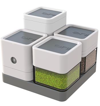 Mono Block 5 pc. Tray Set: Spice blocks, stylish compact block measuring cup and block timer.