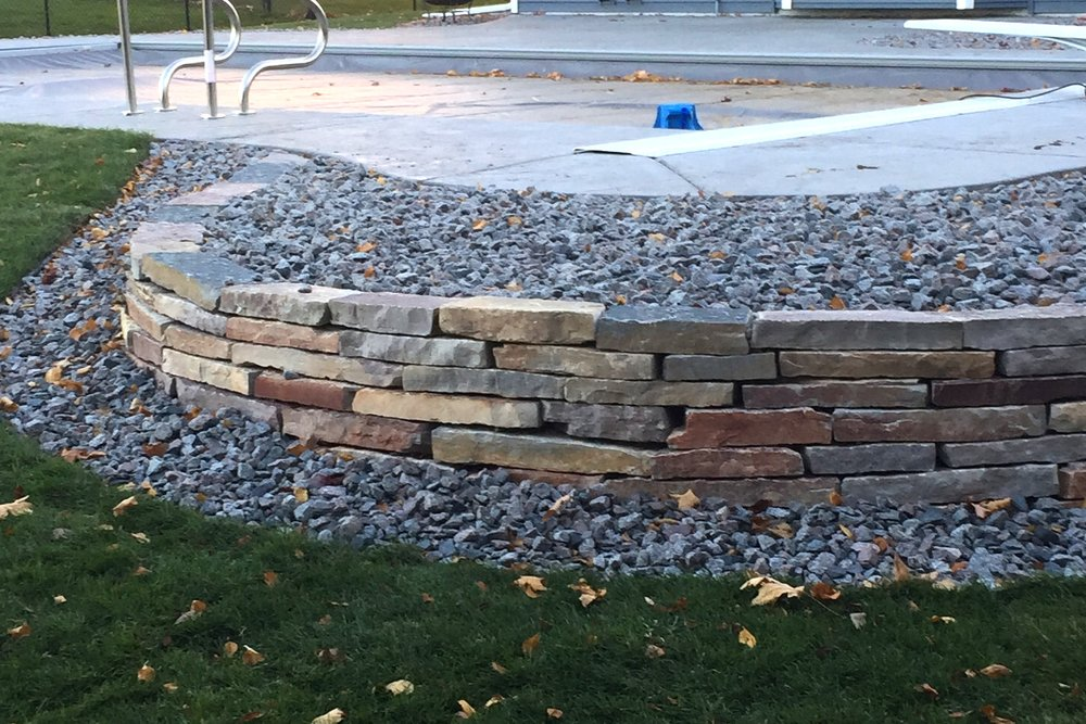 Poolside Chilton Retaining Wall